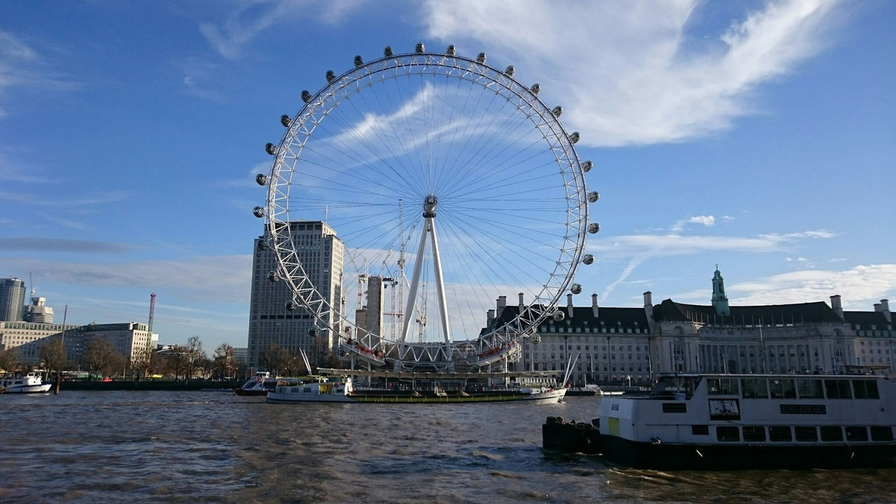 Looking at The London Eye from the Victoria Embankment VictoriaEmbankment Victoria Embankment ferris wheel Travel Destinations Outdoors Sky No People City Water Day LondonEye London Sun Sunny Sunny☀ Sunny Day☀ Thames River River