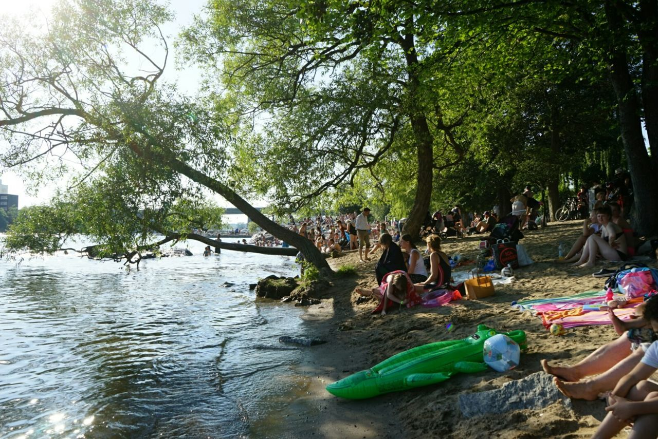 tree, nature, water, day, enjoyment, real people, outdoors, fun, leisure activity, vacations, large group of people, men, people