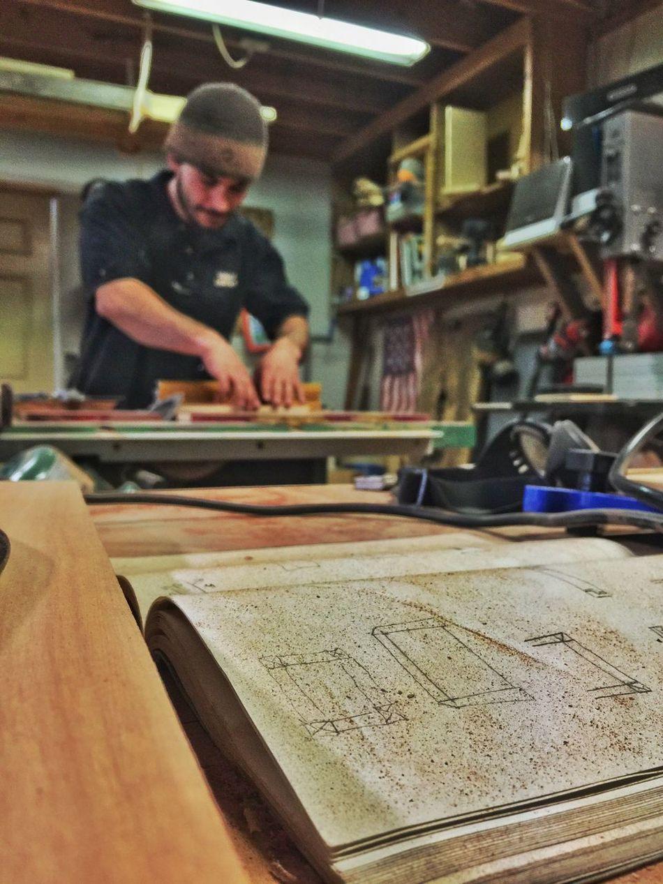 Man Working Workshop Sketchbook Plans Labor Of Love Woodworking IPhoneography