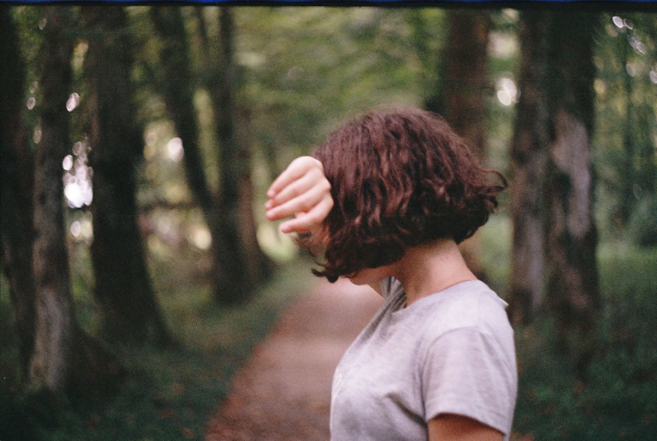 Adult Analog Analogue Photography Curly Hair Day Film Film Photography Girl Girls Hide Human Hand Nature One Person Outdoors People Tree Women Wood