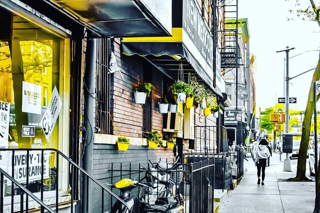 Bicycle Architecture Built Structure City Business Finance And Industry Building Exterior City Life Store Yellow One Man Only Only Men Day Outdoors Awning Adults Only Adult People One Person NYC Street Newyorkcity EyeEmNewHere New York Brooklyn