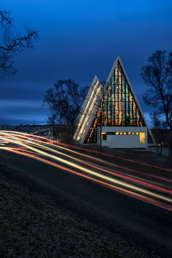 Architecture Arctic Arctic Cathedral Blue Church Illuminated Ishavskatedralen Light Trail Lighttrails Long Exposure Night No People Norge Norway Religion Sky Stained Glass Tromsdalen Tromsdalen Church Tromso Tromsø First Eyeem Photo
