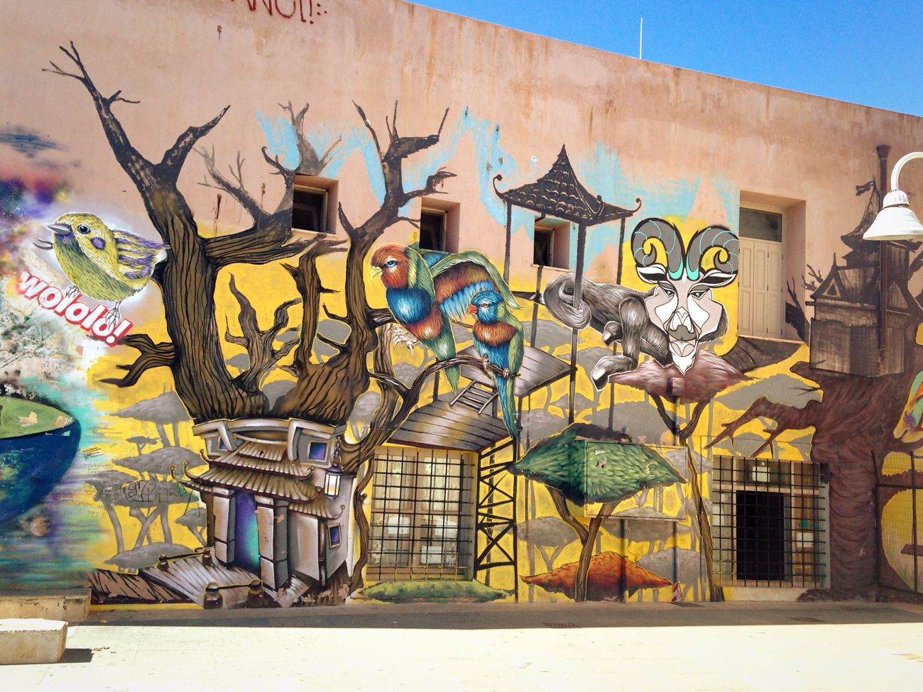Crete School Artistic Expression Graffiti Sunlight Autumn Rethymno Building Exterior