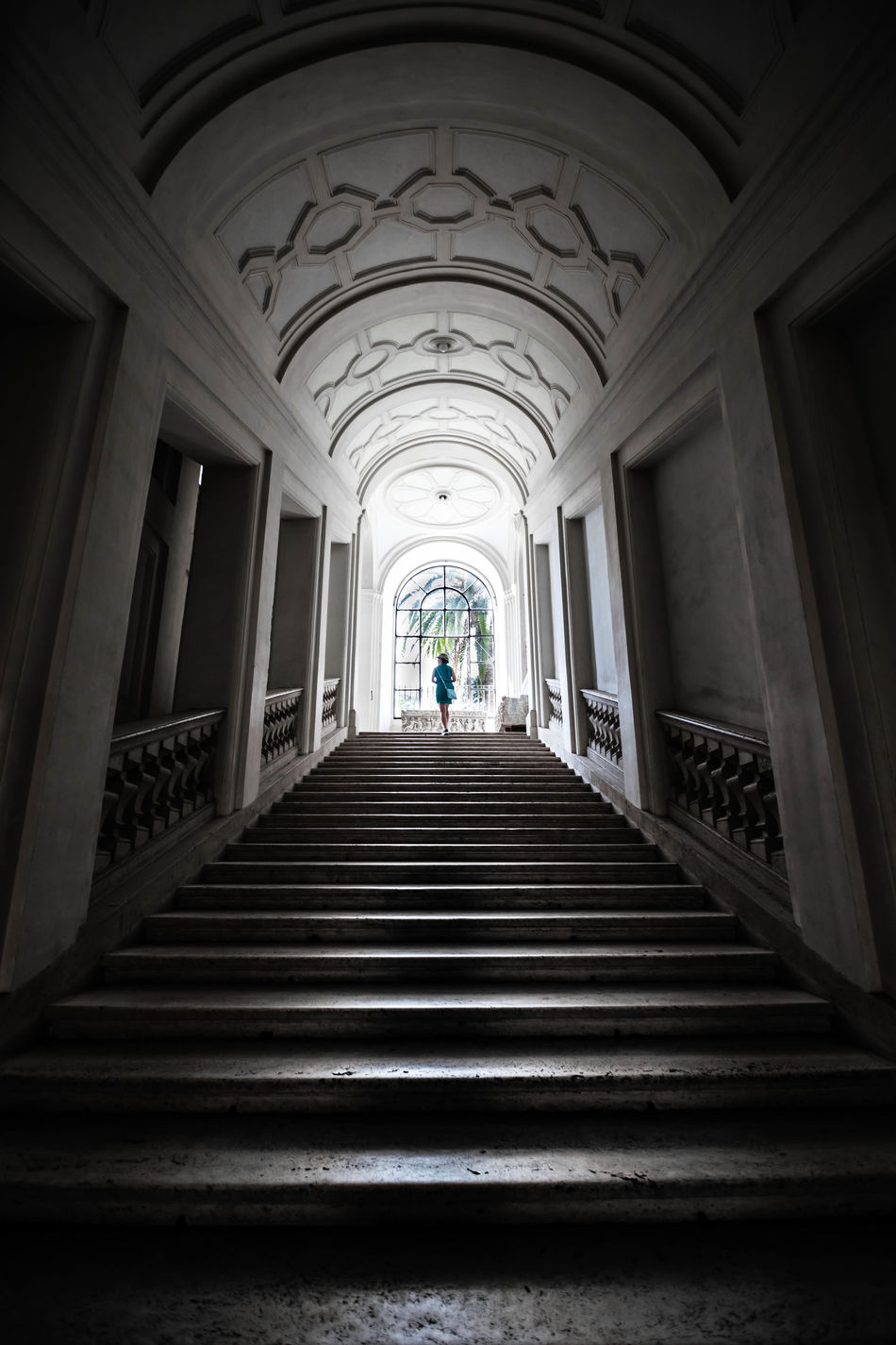 Arch Arched Architectural Column Architecture Archway Day Diminishing Perspective Entrance Full Length Indoors  Leading Lines Low Angle View Marble Stairs Moving Up One Person Roma Staircase Steps Steps And Staircases Symmetry The Way Forward Tourism Tourist Travel Destinations Vacations