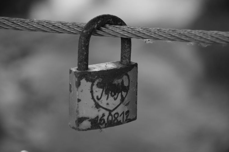 Blackandwhite Chain Close-up Day Focus On Foreground Hanging Hope Lock Love Love Lock Metal Natured No People Old Outdoors Padlock Protection Safety Security Sky Strength