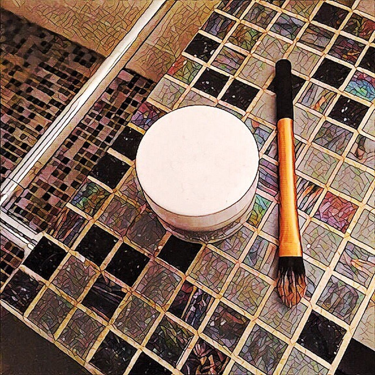 Mosaic Makeup Brush Colors Pot Box Sink Bathroom High Angle View Indoors  No People Day Earthenware
