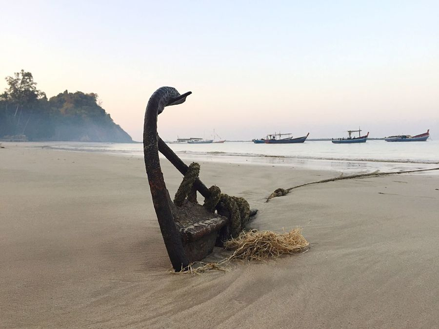 Myanmar Beach Anker Rope Boats Beachphotography Sea Sand Water Anchor