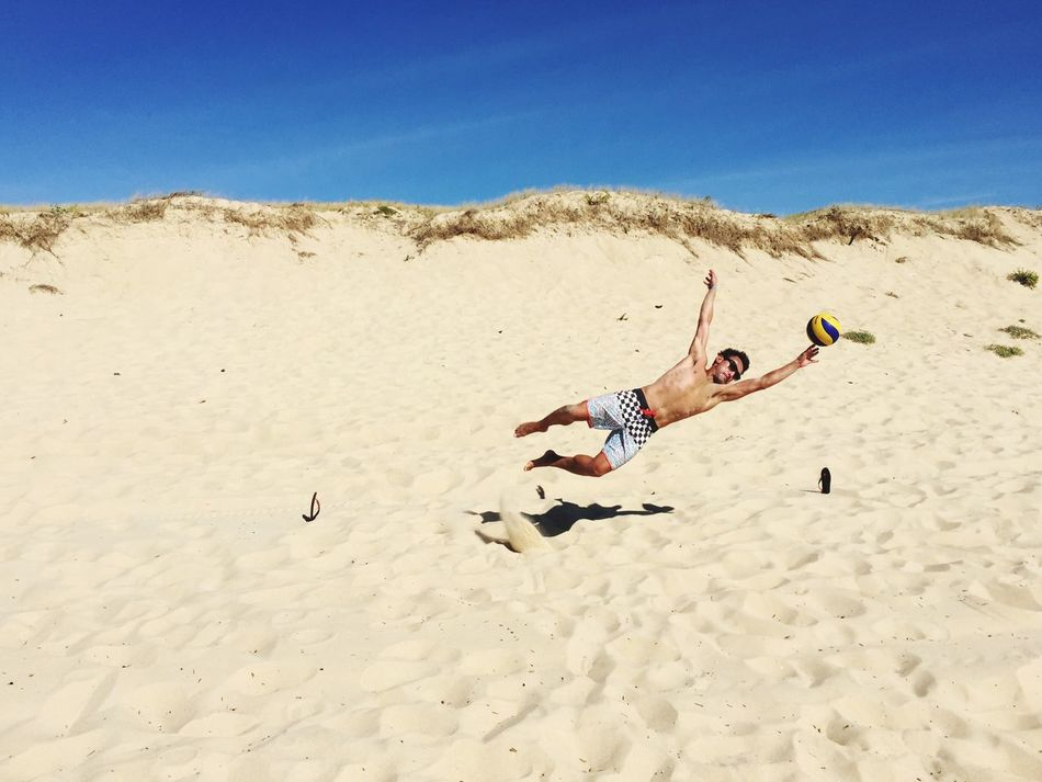 Beautiful stock photos of fußball, sand, full length, one person, mid-air