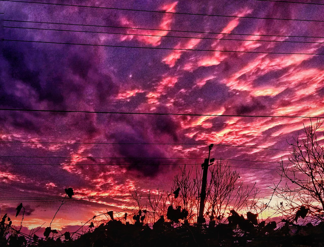 sky, sunset, silhouette, cloud - sky, nature, beauty in nature, dramatic sky, scenics, low angle view, no people, outdoors, tree, night, mountain, electricity pylon