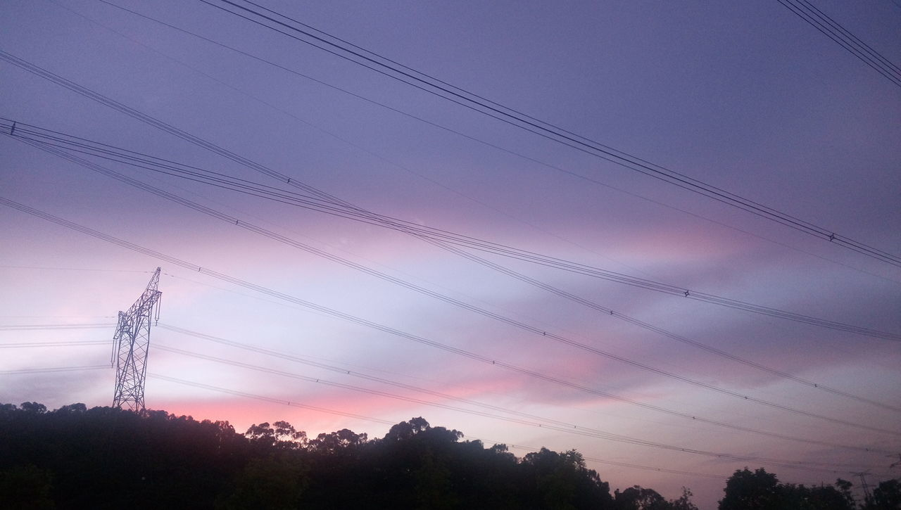 cable, power line, electricity pylon, electricity, power supply, connection, fuel and power generation, no people, technology, low angle view, electricity tower, sky, tree, outdoors, nature, beauty in nature, day