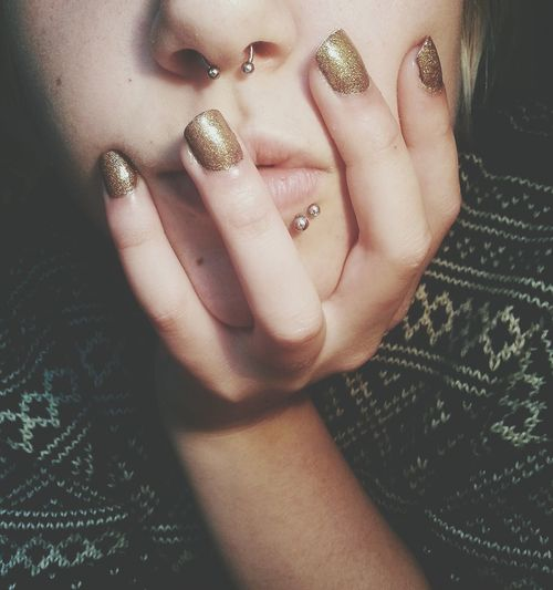 New gold nailpolish ♥ Nail Polish Gold Nails Septum Obsession
