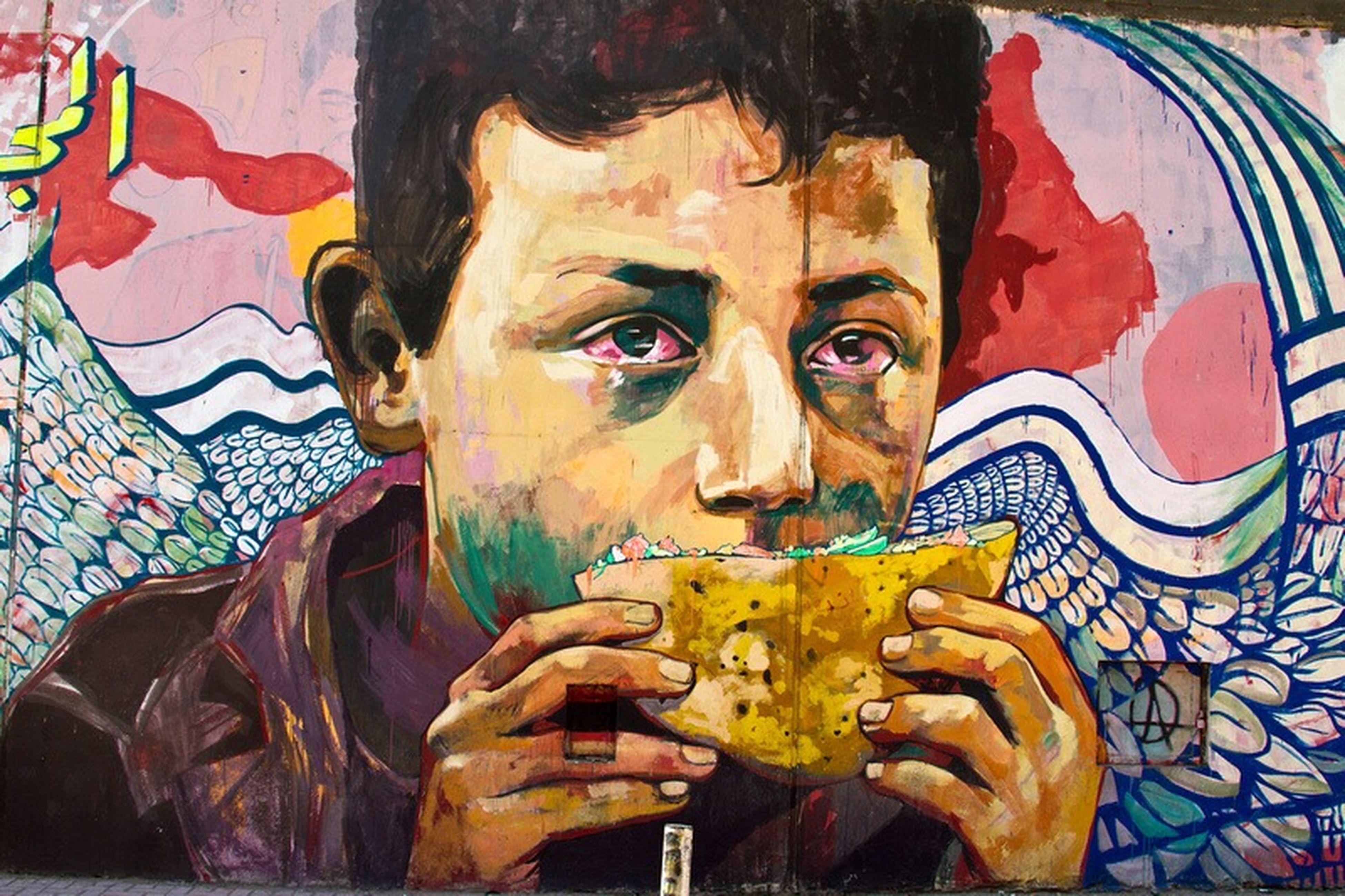 Revolutionary Art in the heart of Cairo. Graffiti Art Streetphotography Streetart Boy Revolution Cairo Egypt Tahrirsquare Colors
