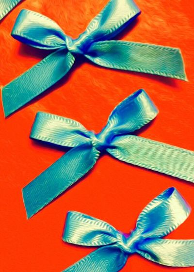 Bows Art ArtWork Abstract Blue Red Getting Creative Blue Bows On A Red Background Craft Fabric Material Ribbon Blue Ribbon