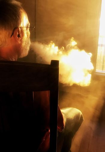 I call this one husband with vape😊oh so much better than those stinky cigars! Indoors  One Person Men Vaping Community Window Chair Sunlight At The Sky Land Resort In Shenandoah National Park Virginia Usa The Week On EyeEm
