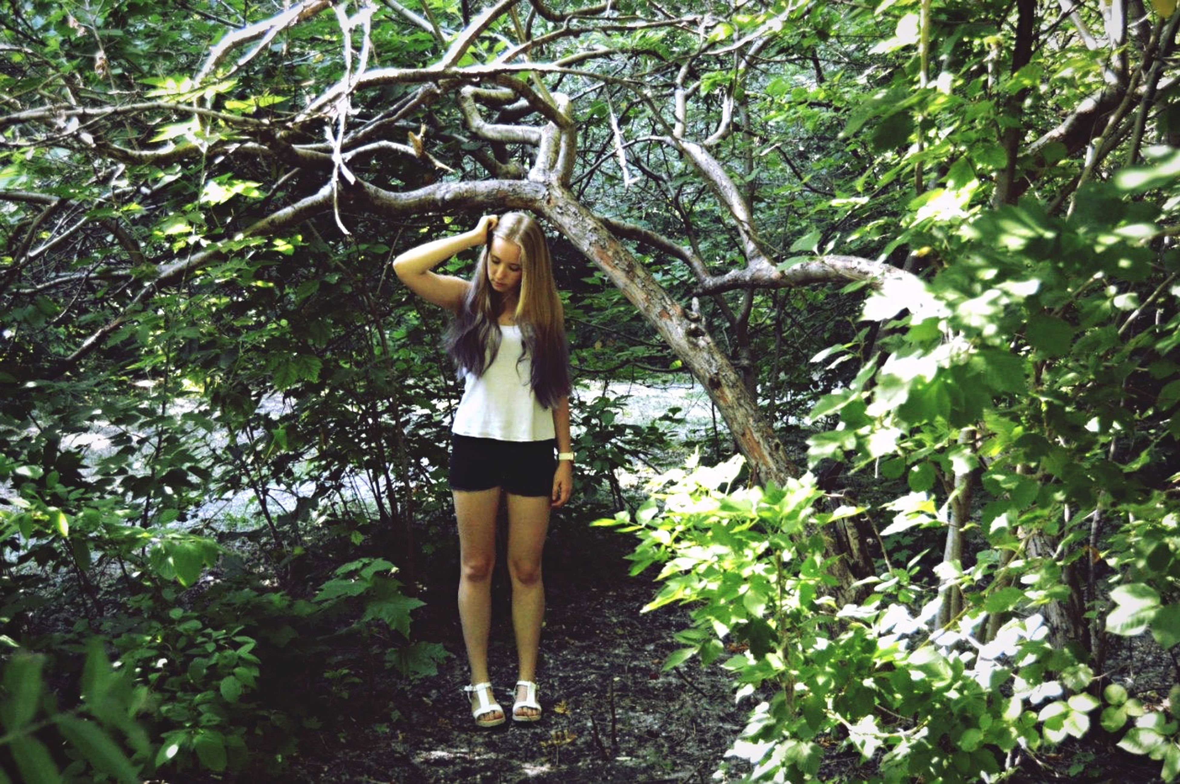 tree, growth, branch, tree trunk, nature, lifestyles, forest, plant, standing, outdoors, full length, leisure activity, casual clothing, day, hanging, rear view, leaf, person