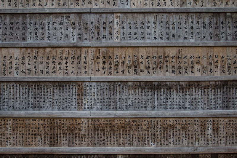 Wall of wooden panels with japanese writings in shinto shrine EyeEm Best Shots The Week On EyeEm Japan Shinto Shrine Shinto Temple Wall Backgrounds Close-up Day Full Frame Hiragana Signs Japanese Writing Kanji Signs No People Outdoors Pattern Temple Textured  Wooden Panel
