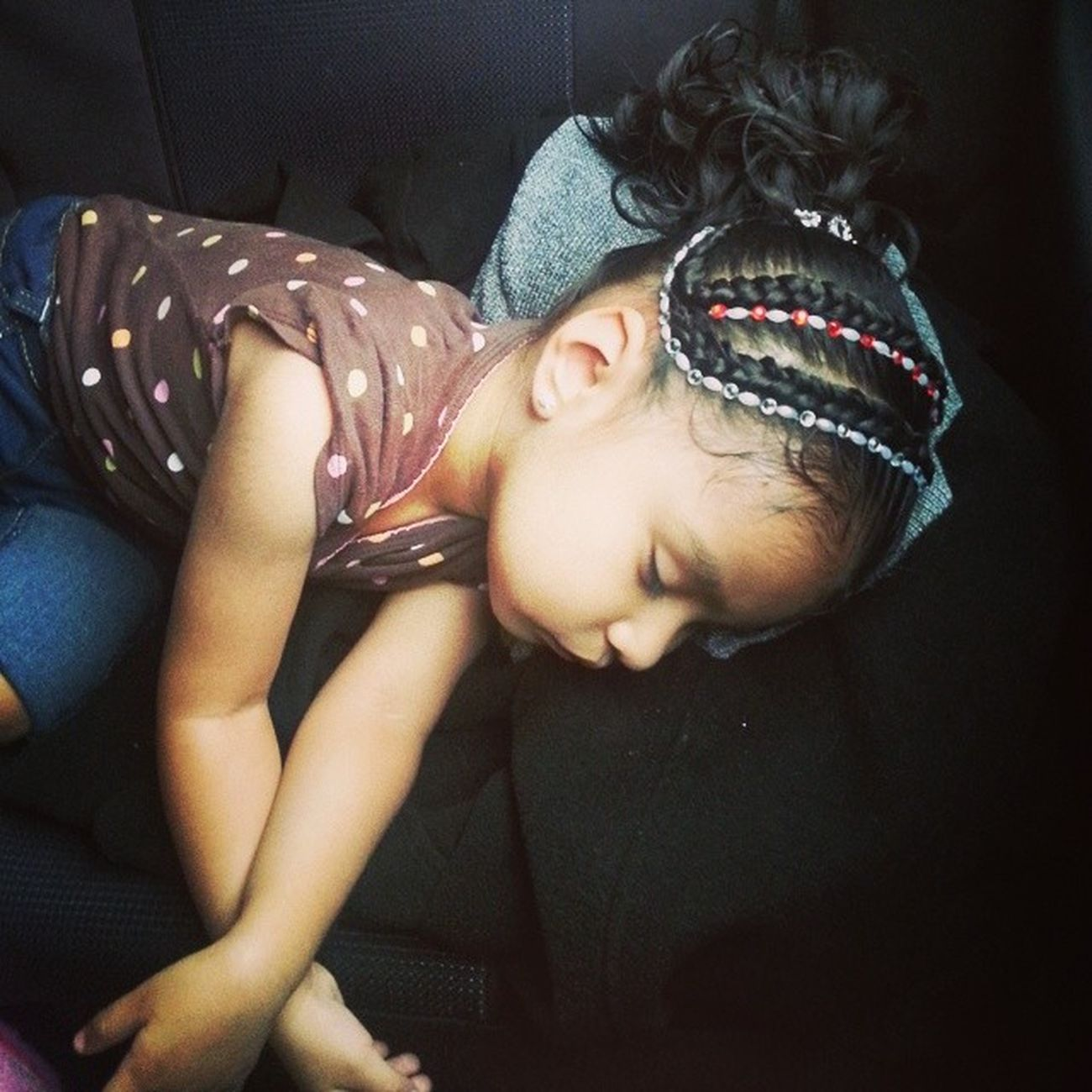 my baby asleep in the back seat TooCute CarRides Newhairdo Loveher