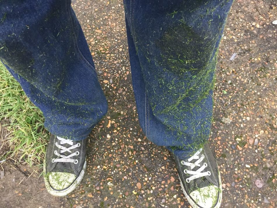 Mowing the lawn has resulted in me looking like the grinch Balance Carefree Childhood Directly Above Dirty Footwear Grass High Angle View Human Body Part Human Leg Jeans Lawn Lifestyles Low Section Men Mowing The Lawn Part Of Personal Perspective Real People RISK Shoe Standing