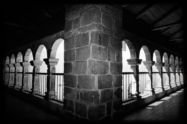 Arch Architecture Built Structure History Historic Architectural Column Arched Stone Material Arrangement Colonnade Memories Arcade No People Ancient Traveling Bolivia Blackandwhite Light And Shadow Monochrome EyeEm Best Shots - Black + White Lapaz