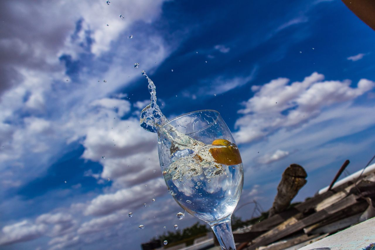 drink, drinking glass, food and drink, refreshment, no people, outdoors, sky, day, freshness, close-up, nature, animal themes