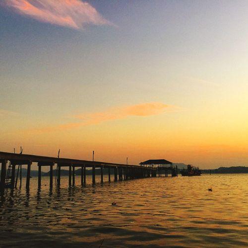 Fishermen jetty at sunrise Pangkor Island Malaysia Sunrise The Moment - 2015 EyeEm Awards Travel Photography sky