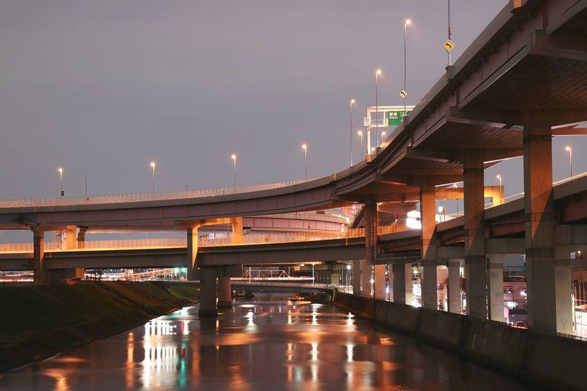 Highway Junction Tokyo Japan River Riverside Sky Light Night Nightview Nightphotography