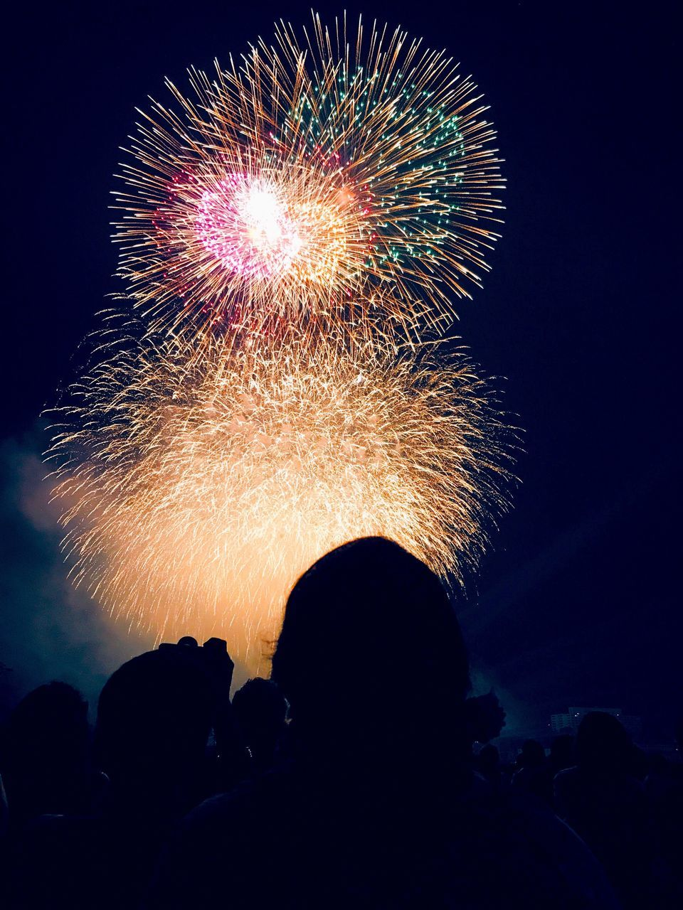 firework display, night, real people, celebration, event, arts culture and entertainment, low angle view, firework - man made object, exploding, leisure activity, silhouette, illuminated, men, excitement, long exposure, women, lifestyles, firework, large group of people, multi colored, sky, outdoors, motion, group of people, audience, crowd, people