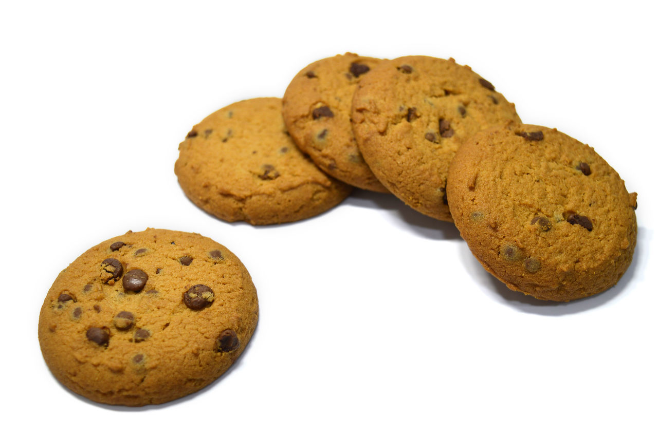 Chocolate chips cookies isolated on white Bake Biscuit Breakfast Brown Calories Carbohydrate - Food Type Cookies Crumbs Delicious Dessert Food Fresh Handmade No People Ready To Eat Snack Snack Studio Shot Sweet Food Temptation White Background