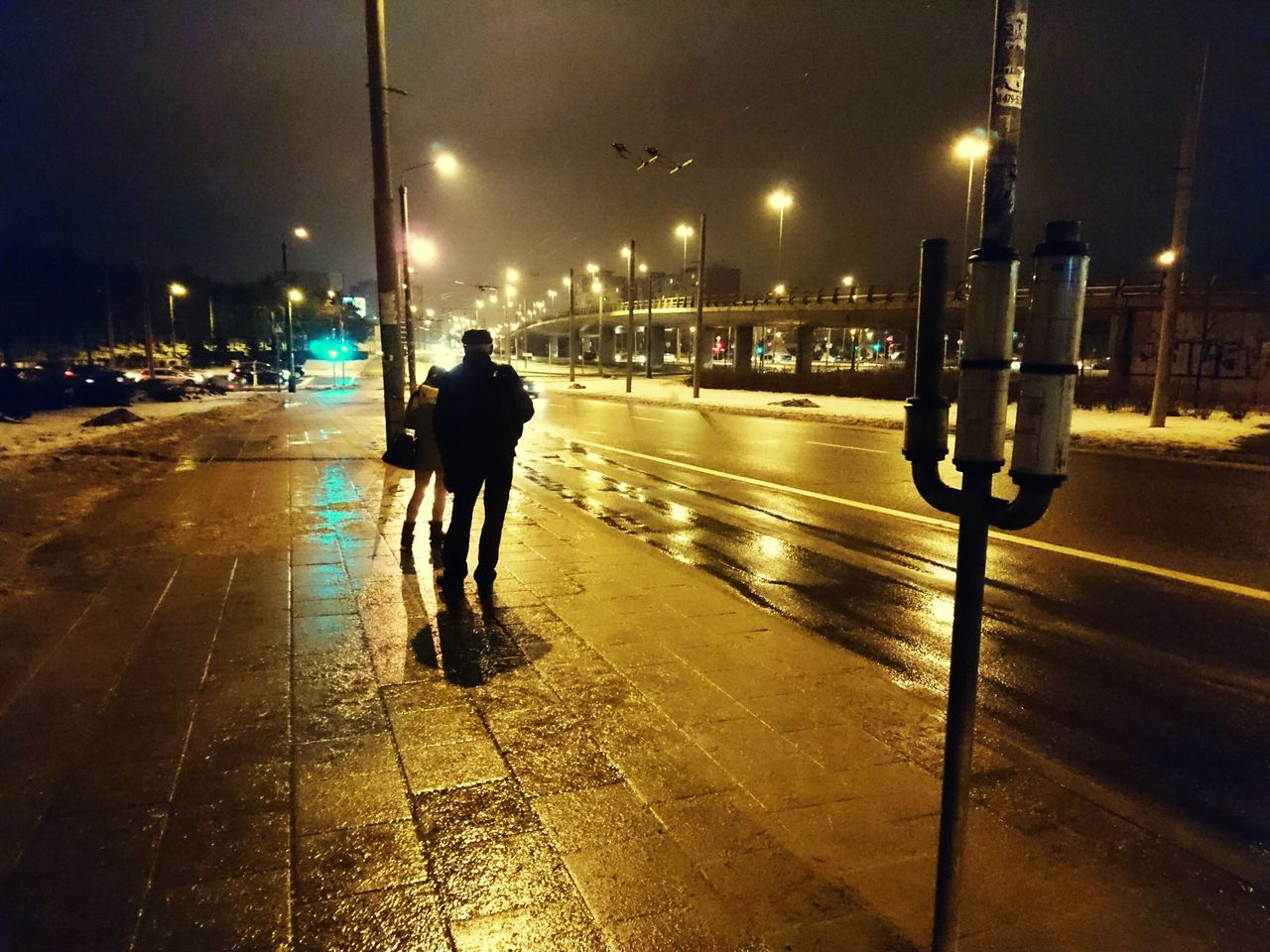 Nigth  Waiting For The Bus City Illuminated Street Outdoors Winter Wet