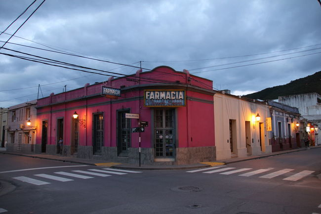 Argentina City City Life Cloudy Diminishing Perspective Dusk Dusk In The City Empty Crossing Farmacia Illuminated Lights Multi Colored No People Pharmacy Power Line  Purple Salta  Streets