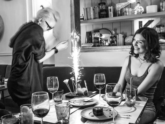 Barcelona Birthday Black Black And White Candle Celebration Fire Food And Drink Friendship Lifestyles Reastaurant Smiling Table Wine Wineglass The Photojournalist - 2017 EyeEm Awards Be. Ready.