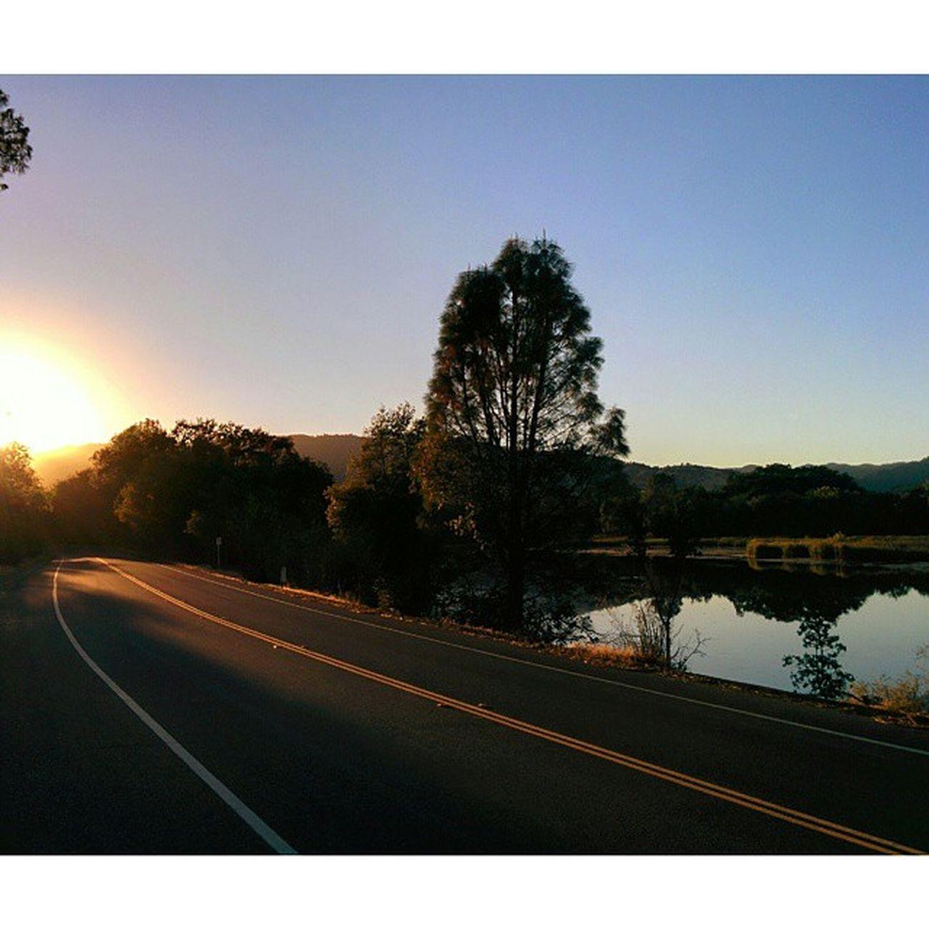 Nice Commute . Putahcreek LakeSolano Vacavilleca Sunset Landscape Lake Roadtonowhere