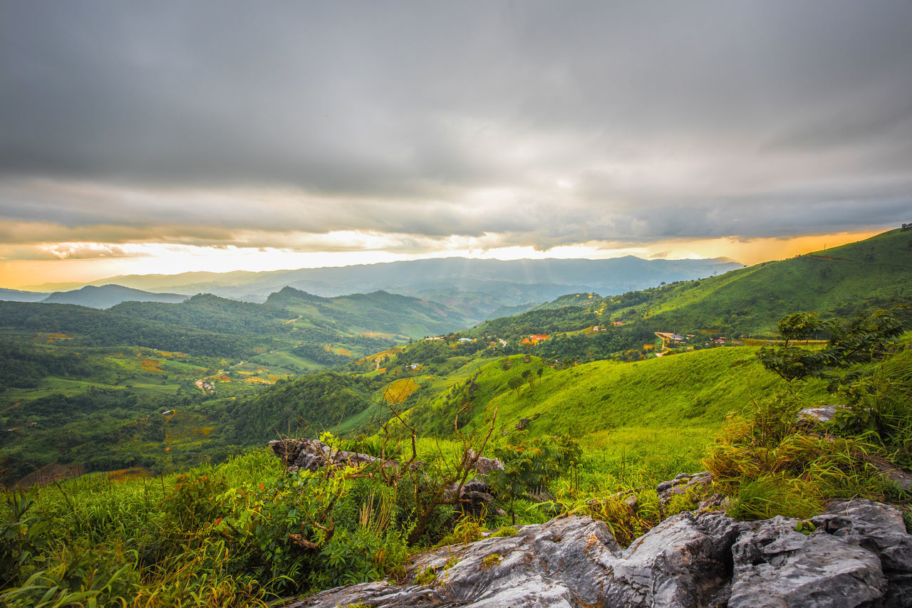 sut set at top go Phatang Hill mountain ,Chiangrai Thailand Beauty In Nature Chiangrai Cloud - Sky Day Green Color Landscape Mountain Mountain Range Nature No People Outdoors Peace Phatang Right Scenics Sky Sunset Thailand Tourism Tranquil Scene Tranquility Tree Turkey War
