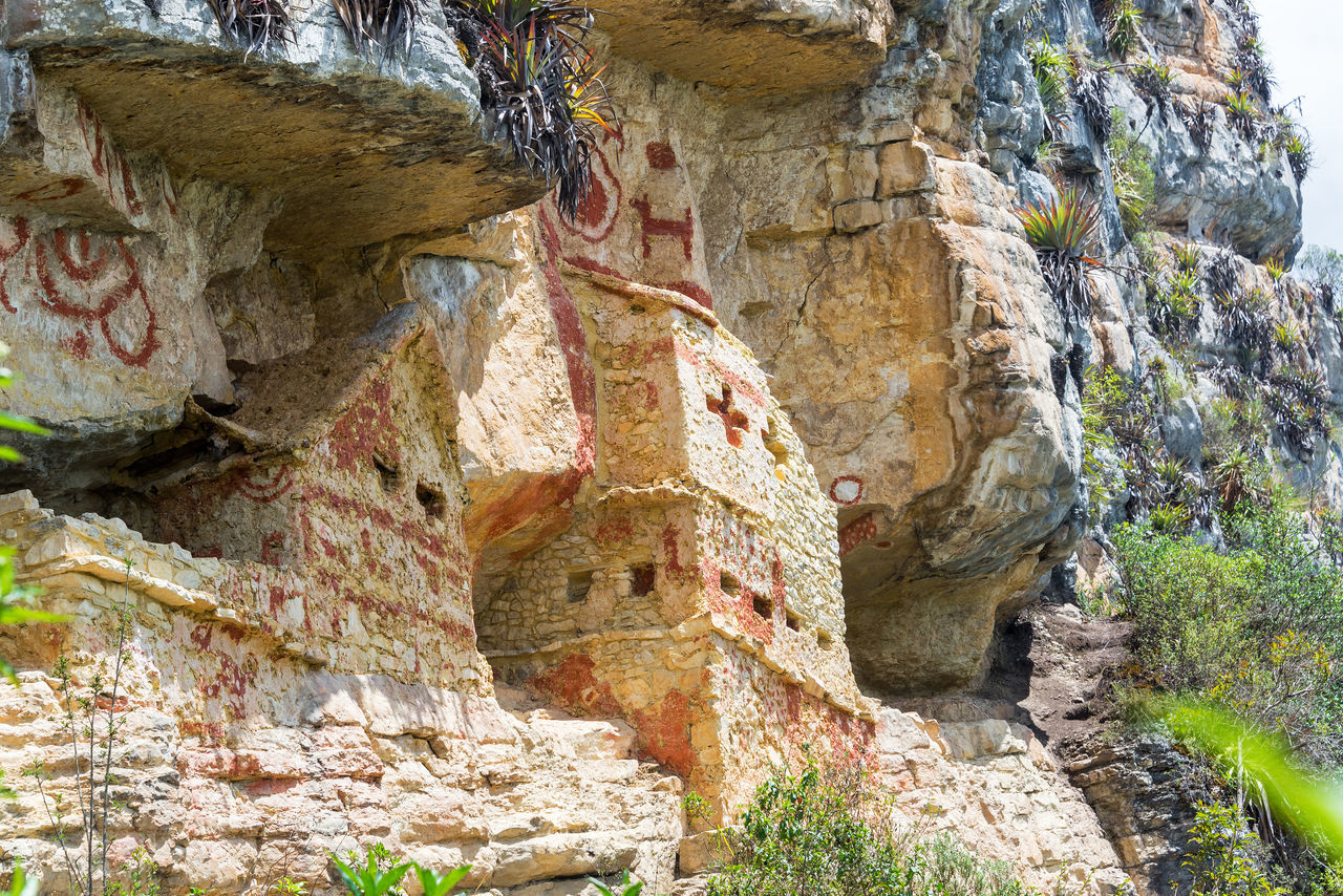 Revash tombs high up on a cliff near Chachapoyas, Peru Amazonas Architecture Burial Burial Site Chachapoyas Chachapoyya Civilization Cliff Day Mausoleum No People Old Peru Revash Stone Tomb Tombs Utcubamba
