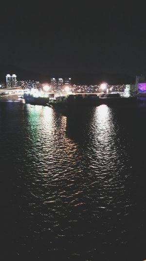 Night Water Sky No People Sea Outdoors Black Background Port On The Ship Busan,Korea Illuminated