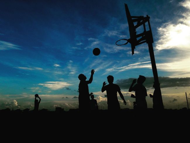 Silhouette Blue Standing Men Leisure Activity Sky Playing Outline Cloud - Sky Person Surveillance Outdoors Scenics Basketball Streetbasketball The Week On Eyem