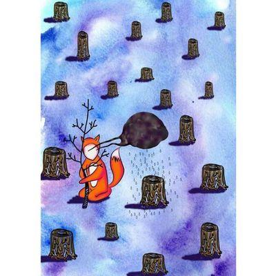 Stop Killing The Forest illustration foxthehuman fox boy dead forest save tree NymkaLkh Nymka Lkh © 2014 test work1