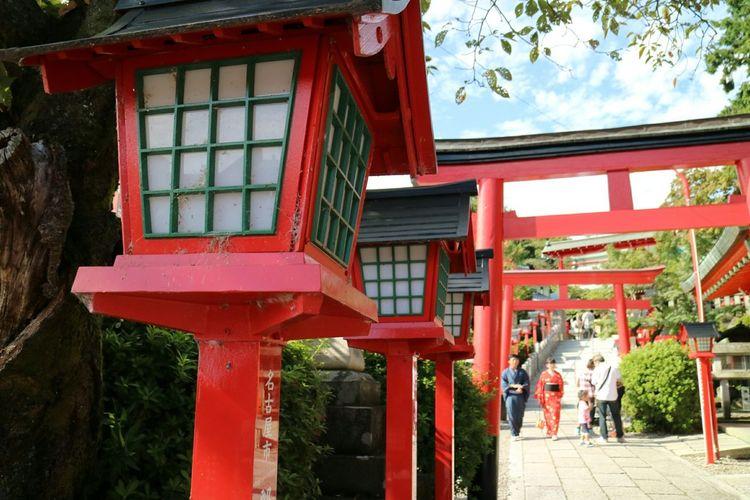 Japan Aichi Inuyama 三光稲荷神社 Sanko Inari Shrine 倍返し神社 TORII Lanterns Red Sightseeing