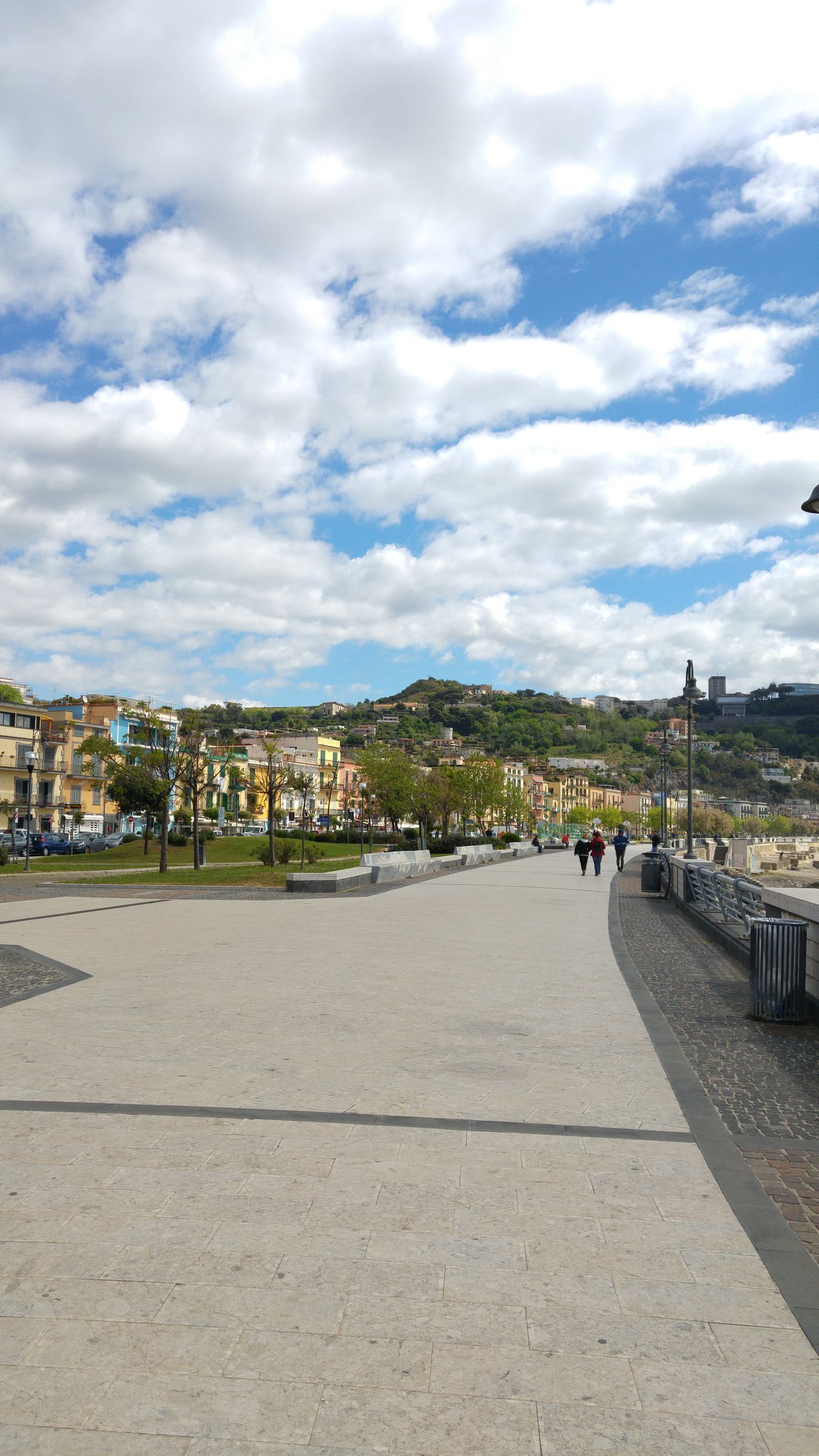 Sea promenade in Pozzuoli, bay of Naples, Italy Architecture Bay Of Naples Building Exterior Built Structure City Cityscape Cloud - Sky Day Naples, Italy Nature Outdoors Pozzuoli Real People Sky Tree