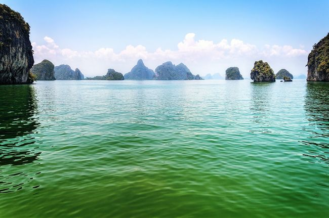 Green Sea Mountains Phuket,Thailand Nature Sky And Clouds