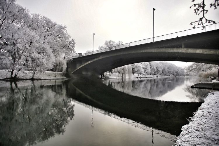 Under the Bridge Water Reflection Bridge - Man Made Structure Connection Architecture Built Structure River Tree No People Outdoors Sky Day Nature Winter Heilbronn Germany Neckar The World In My Sight From My Point Of View Eye4photography  Landscape_Collection Landscape_photography Heilbronn Tranquility Tranquil Scene Cold Temperature