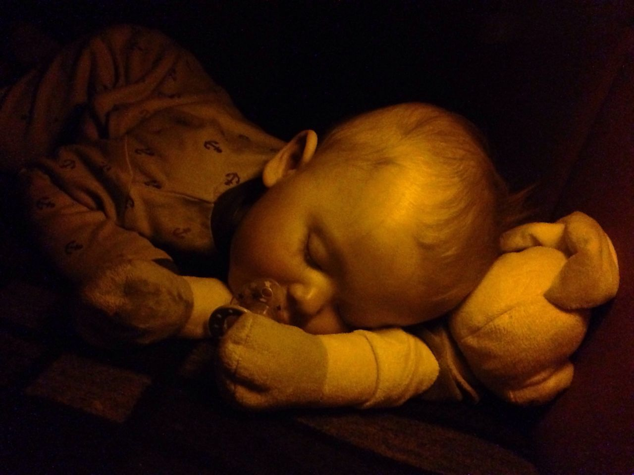 baby, childhood, indoors, sleeping, lying down, cute, babyhood, one person, teddy bear, real people, stuffed toy, newborn, close-up, fragility, babies only, people