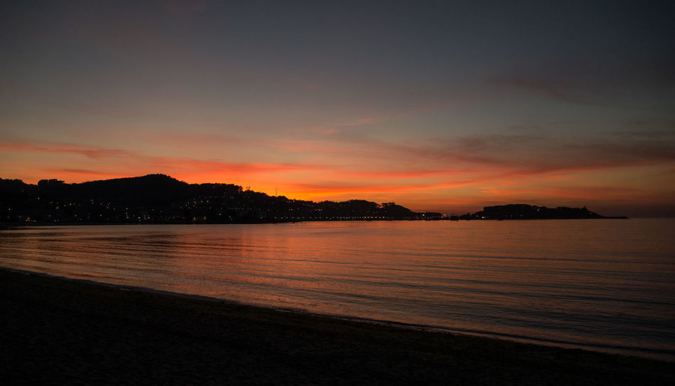 Beach Galicia Landscape Nature Night Outdoors Reflection Sea And Sky Silhouette Sunset