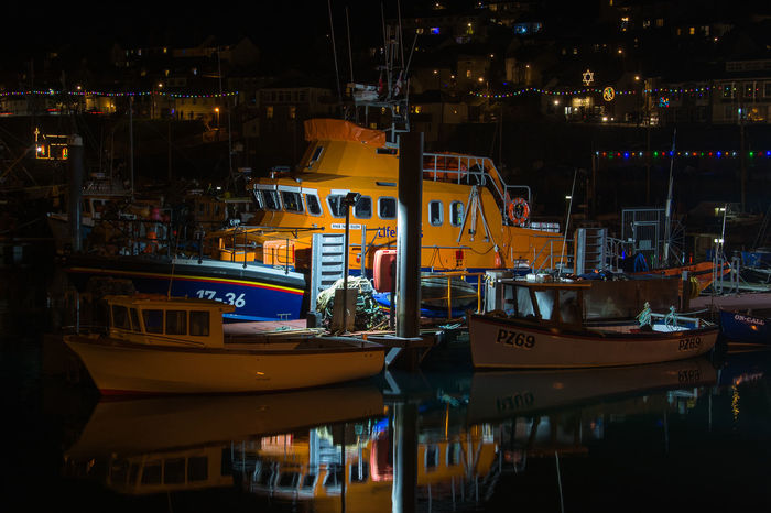 Architecture Building Exterior Built Structure City Illuminated Industry Lifeboat RNLI Moored Nautical Vessel Newlyn Night No People Outdoors RNLI Transportation
