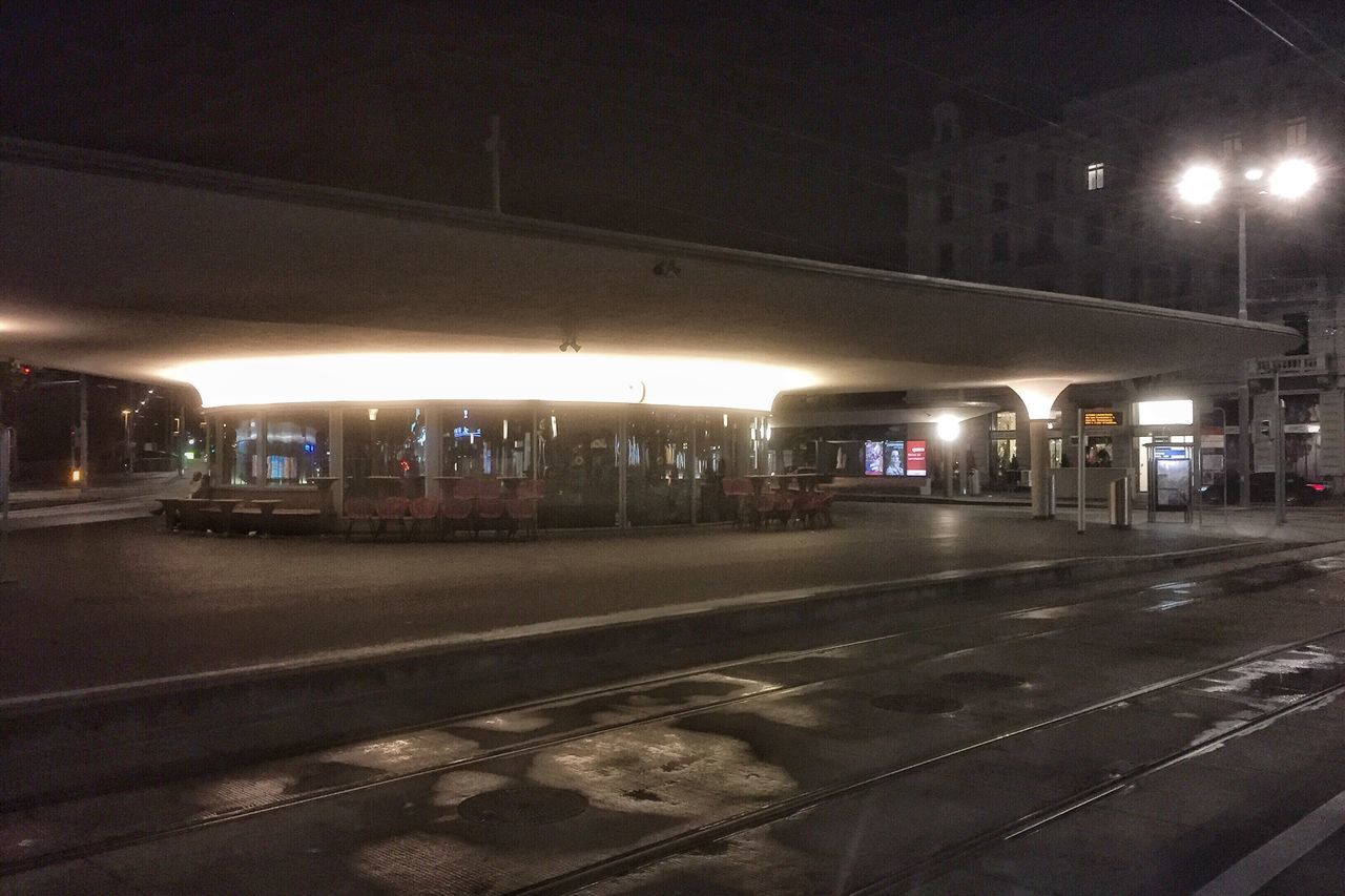 Night Outside Tram Station