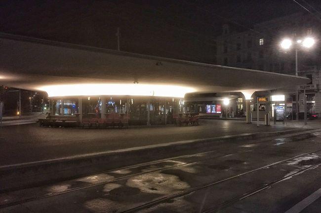 Night Outside Tram Station