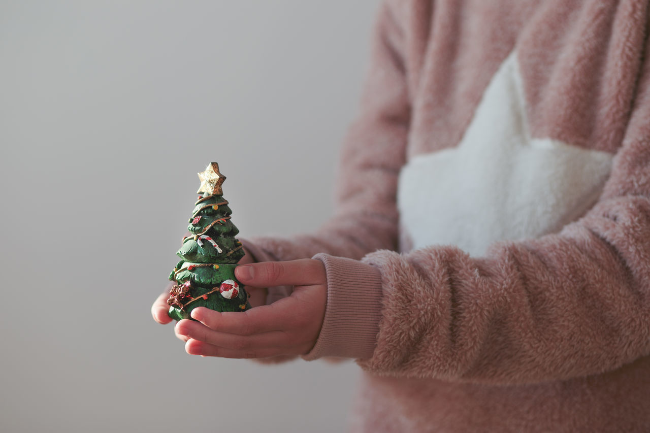 Girl wearing warm sweater holding Christmas tree figure Anonymous Celebration Childhood Christmas Christmastime Close-up Decoration Figure Girl Holding Holiday Horizontal Idea Lifestyles One Person Simple Sweater Tradition Tree