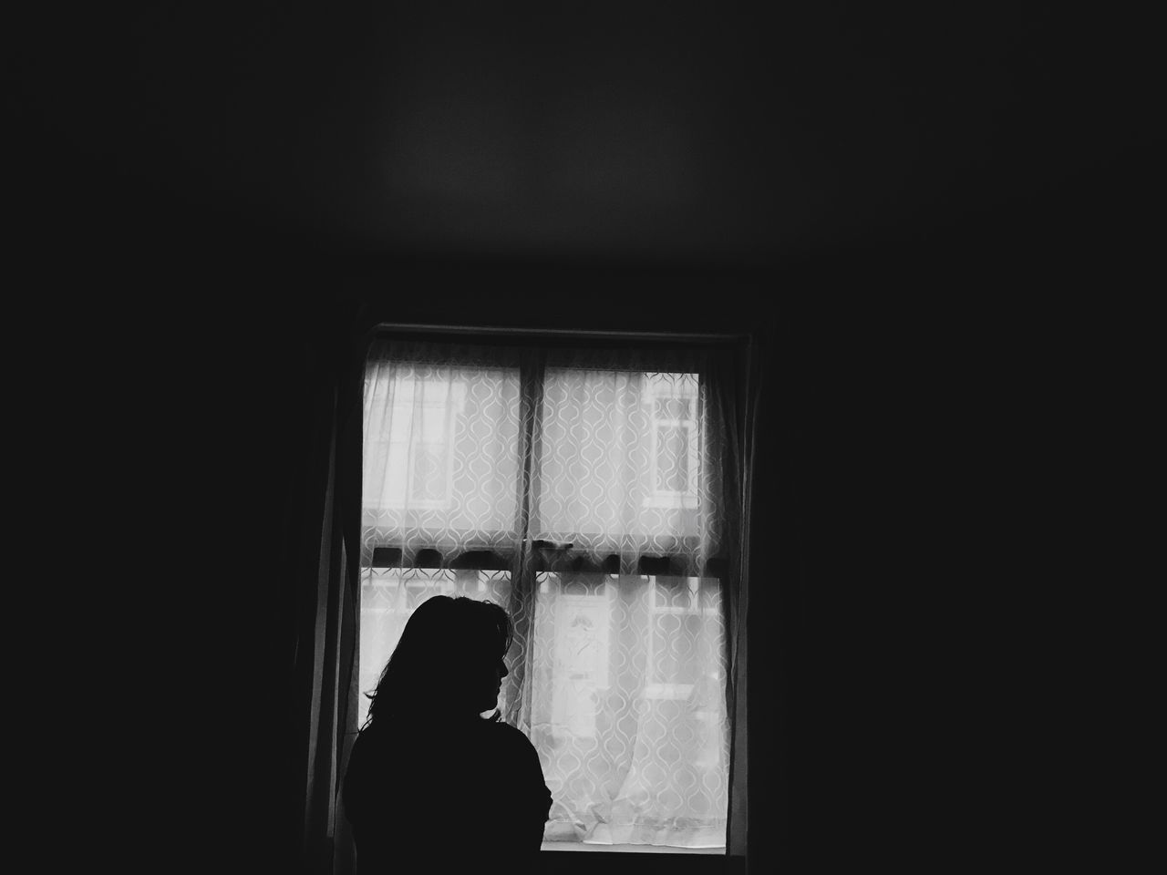 IPhoneography Iphone7 Silhouette Window One Person Curtain Indoors  Home Interior Real People Silhouette Day Adult People (null)Home Waiting