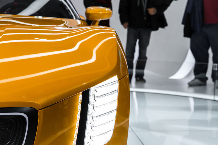 Car Close-up Concept Car Detroit Auto Show 2014 Grill Headlight Kia Land Vehicle Part Of Yellow