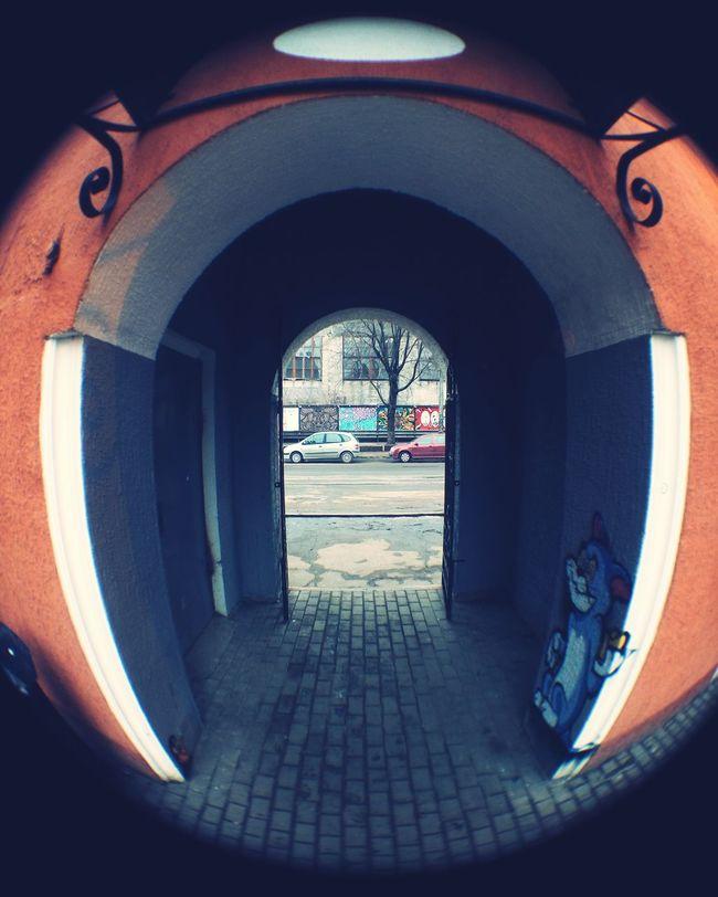 Fisheye Фишай Archway Graffiti арка Mobilephotography Urban Geometry Street улица Meizu